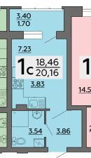 1к квартира, 20.16/18.46/ кв. м., 121 стрелковой дивизии ул, 9