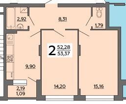 2к квартира, 53.37/29.36/9.9 кв. м., 121 стрелковой дивизии ул, 9